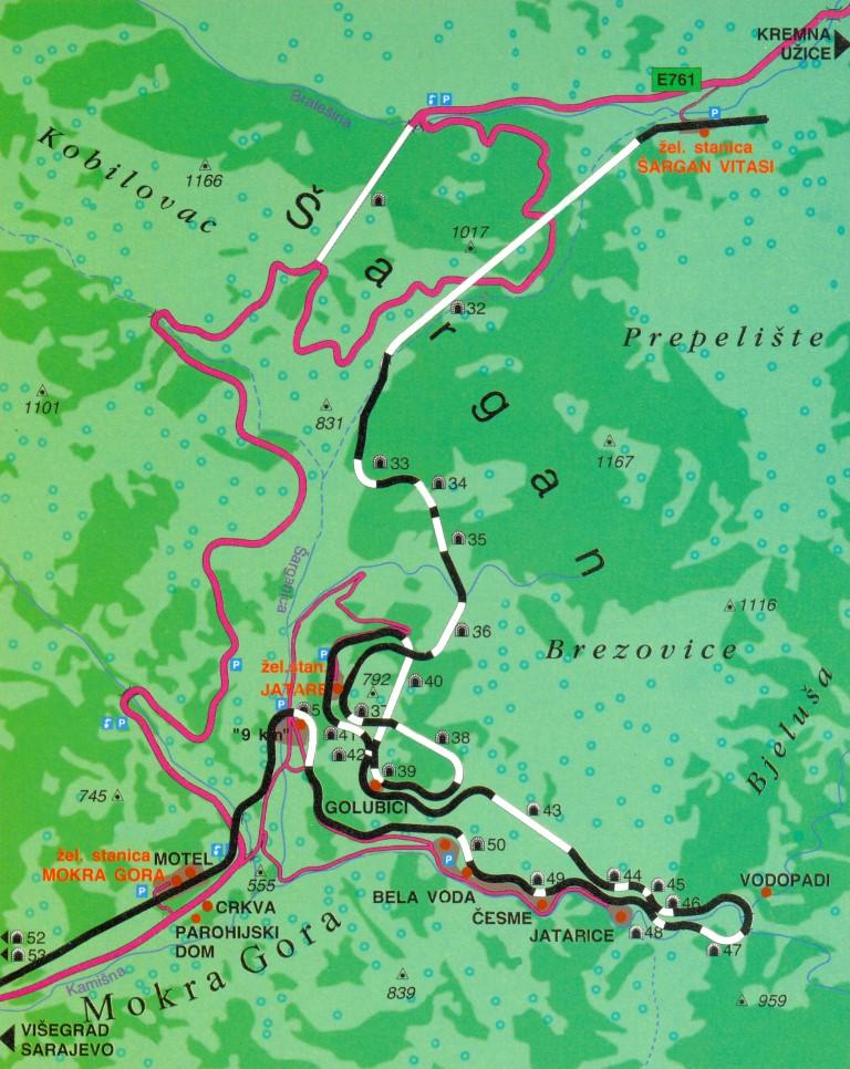 Mapa Mokre Gore Zheleznice Srbiјe Ad